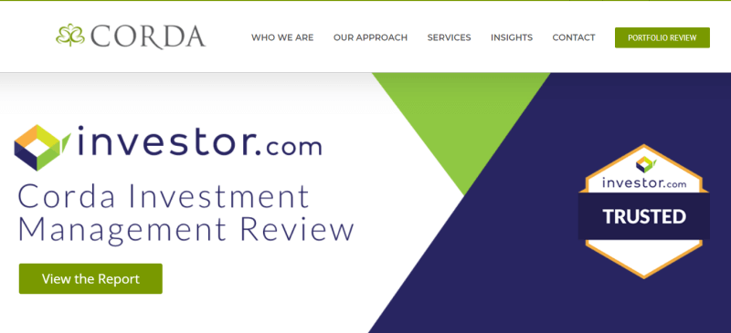 Corda Investment Management homepage example