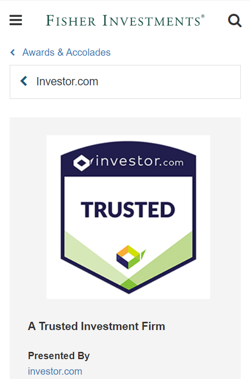 Fisher Investments award page example