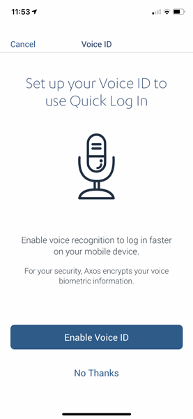 Axos voice recognition