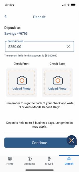 Axos mobile check deposit
