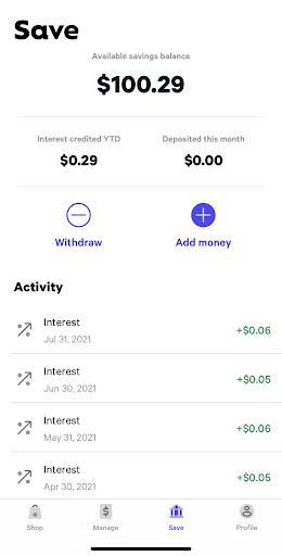 Affirm mobile savings account app.