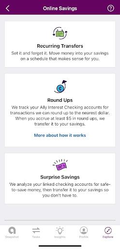 Ally savings account tools